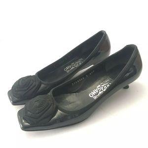 SALVATORE FERRAGAMO Black Satin Pumps Heel Ribbon